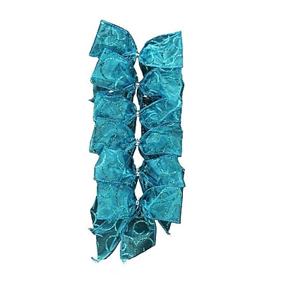 Dyno Pack of 6 Glittered Teal Blue 2 Loop Bow Christmas Decorations 4.5
