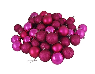 Northlight 16ct Pink Magenta Shatterproof 4-Finish Christmas Ball Ornaments 3.25