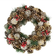 "Northlight 13.5"" Natural Glitter Pine Cone and Berries Artificial Christmas Wreath - Unlit (31741979)"