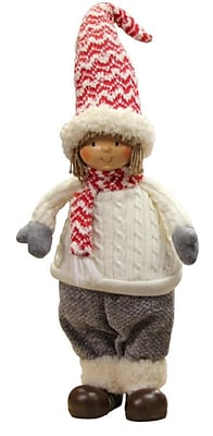 """Northlight 16"""" Cheerful Young Boy Gnome in Ivory Cable Knit Sweater Christmas Decoration (31749568)"""