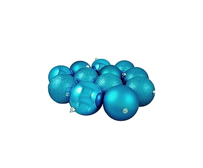 Northlight 12ct Turquoise Blue 4-Finish Shatterproof Christmas Ball Ornaments 4