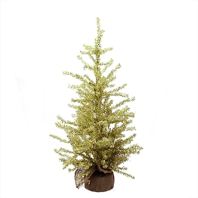 "Vickerman 2' x 12"" Champagne Gold Tinsel Artificial Christmas Tree in Burlap Base - Unlit (32269758)"