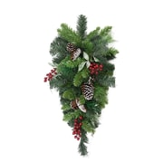 "Northlight 32"" Pre-Decorated Frosted Pine Cone and Red Berry Artificial Christmas Teardrop Swag - Unlit (31377186)"