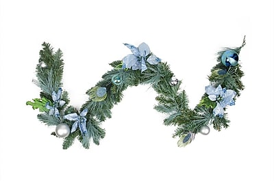Northlight 6' Pre-Decorated Peacock Blue Silver Balls and Poinsettias Artificial Christmas Garland - Unlit (31453761)