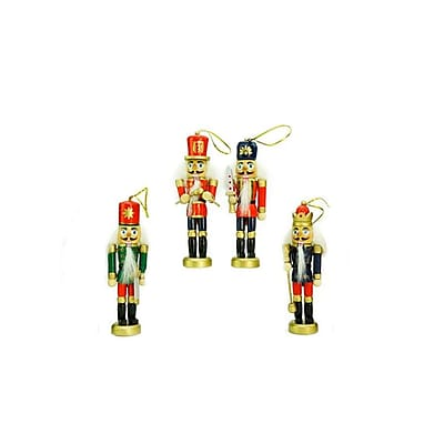 Northlight Pack of 4 Red Blue and Green Decorative Wooden Christmas Nutcracker Ornaments 5
