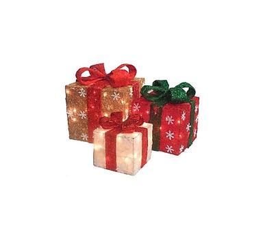 Northlight Set of 3 Lighted Gold Green & Cream Sisal Gift Boxes Christmas Yard Art (32282900)