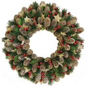 "Northlight 14"" Decorative Pine Cone with Berries and Stars Christmas Wreath - Unlit (32260940)"