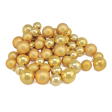 Northlight 50ct Shatterproof Vegas Gold Shiny & Matte Christmas Ball Ornaments 1.5