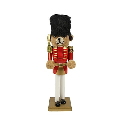 "Nutcracker Factory 14.25"" Decorative Wooden Red and Gold Christmas Nutcracker Bear Soldier (31302553)"