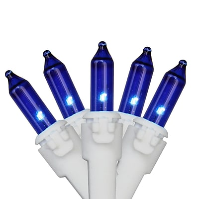 """Brite Star Set of 100 Blue Mini Christmas Lights 4.25"""" Spacing - White Wire (31751084)"""