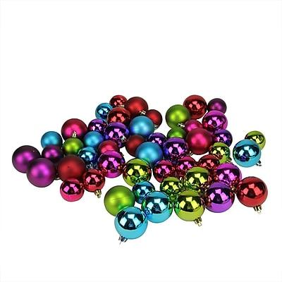 Northlight 50ct Multi-Color Shiny & Matte Shatterproof Christmas Ball Ornaments 1.5