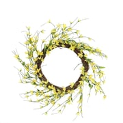 """Northlight 12"""" Yellow  Green and Brown Decorative Artificial Spring Floral Twig Wreath - Unlit (31812270)"""
