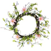 """Northlight 12"""" Green  Pink and Purple Decorative Artificial Spring Floral Twig Wreath - Unlit (31998615)"""