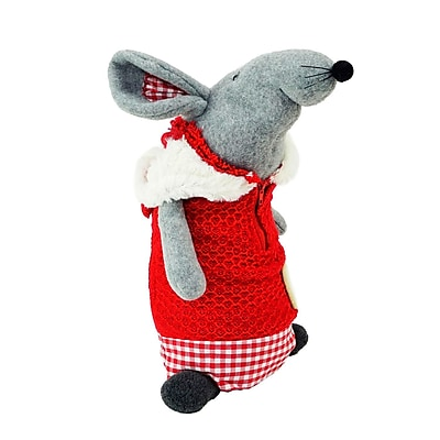 """Northlight 12"""" Standing Mouse with Red Hooded Coat Christmas Tabletop Decoration (32259788)"""