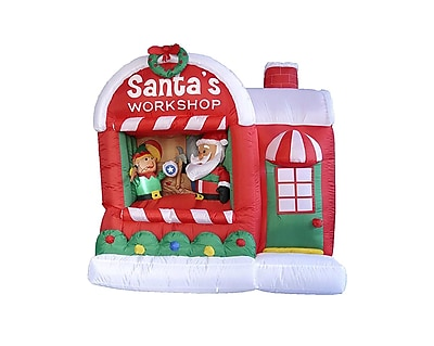LB International 5' Inflatable Lighted Santa Claus Workshop Christmas Yard Art Decoration (32275080)