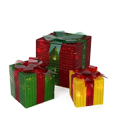 Northlight Set of 3 Lighted Glistening Prismatic Gift Box Christmas Yard Art Decoration (31576422)