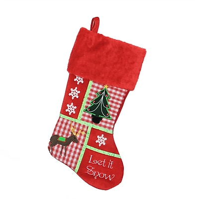 """Northlight 18.5"""" Christmas Cheers Holiday Patches """"Let It Snow"""" Christmas Stocking (32271932)"""