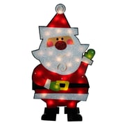 Impact 30 inch Standing Tinsel Santa Claus Lighted Christmas Yard Art Decoration Clear... by