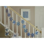 Impact 9.9' Blue Holographic Snowflake Christmas Light Garland with 35 Clear Mini Lights - White Wire (31728930)