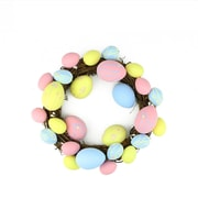"""Northlight 10"""" Pastel Pink  Yellow and Blue Floral Stem Easter Egg Spring Grapevine Wreath (32019804)"""