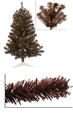 Vickerman 3' Pre-Lit Sparkling Chocolate Brown Artificial Christmas Tree - Clear Lights (31730147)