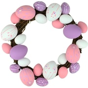 """Northlight 10"""" Pastel Pink  Purple and White Floral Stem Easter Egg Spring Grapevine Wreath (32019806)"""