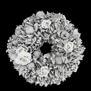 "Northlight 9.5"" White Glitter Rose and Walnut Shell Artificial Christmas Wreath - Unlit (31742069)"