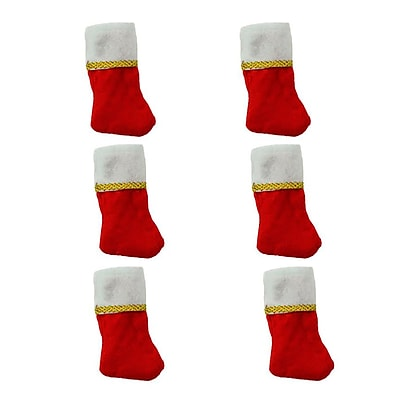Northlight Pack of 6 Traditional Mini Christmas Stockings with Gold Glitter Pen (32270098)