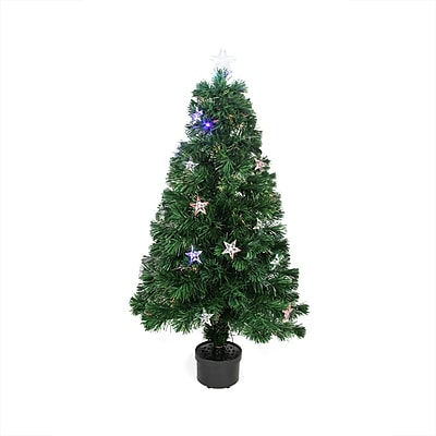 Northlight 4' Pre-Lit LED Color Changing Fiber Optic Artificial Christmas Tree with Stars (32272815)
