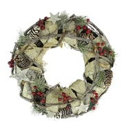 "Northlight 13"" Country Rustic White Birch Bark  Twig  Pine Cone and Berry Artificial Christmas Wreath - Unlit (31741402)"
