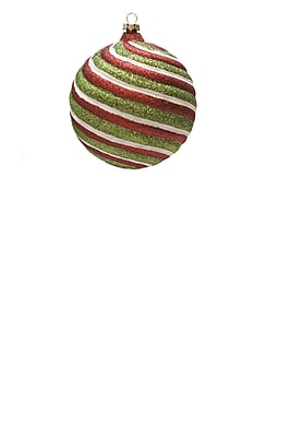 Northlight Merry & Bright Red White and Green Glitter Swirl Shatterproof Christmas Ball Ornament 4