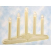 Sienna 5-Light Christmas Candolier with Candles on Holly Berry and Bell Base Candle Lamp (24612179)