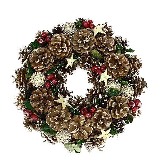 """Northlight 13"""" Glitter Pine Cone and Holly Berry Artificial Christmas Wreath - Unlit (31741385)"""