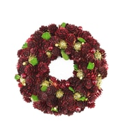 """Northlight 9.5"""" Wine Burgundy and Gold Glitter Pine Cone Artificial Christmas Wreath - Unlit (31742386)"""