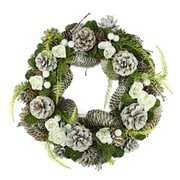 "Northlight 13"" White Frosted Pine Cone  Roses and Twigs Artificial Christmas Wreath - Unlit (31742586)"