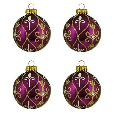 Northlight 4ct Magenta Purple with Gold Glitter Swirl Design Glass Ball Christmas Ornaments 2.5