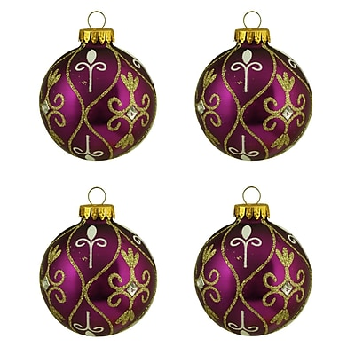 Northlight 4ct Magenta Purple with Gold Glitter Swirl Design Glass Ball Christmas Ornaments 2.5