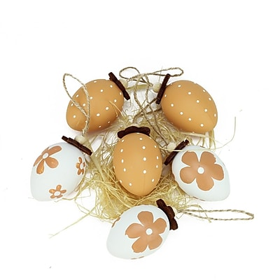 Northlight Set of 6 Natural Tone Decorative Painted Design Spring Easter Egg Ornaments 2.25