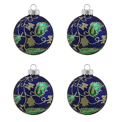 Northlight 4ct Matte Blue with Green & Gold Glitter Paisley Design Glass Ball Christmas Ornaments 2.5
