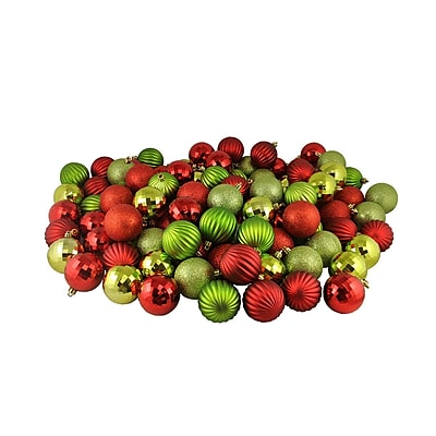 Northlight 100ct Red and Kiwi 3-Finish Shatterproof Christmas Ball Ornaments 2.5