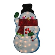 Impact 30 inch Standing Tinsel Snowman Lighted Christmas Yard Art Decoration Clear Lights... by