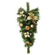 "Northlight 32"" Pre-Decorated Gold Poinsettia  Pine Cone and Ball Artificial Christmas Teardrop Swag - Unlit (31377206)"