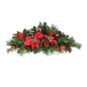"Northlight 24"" Pre-Decorated Red Poinsettia  Pine Cone and Ball Artificial Christmas Swag - Unlit (31377142)"