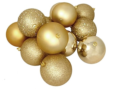 Northlight 12ct Shatterproof Vegas Gold 4-Finish Christmas Ball Ornaments 4
