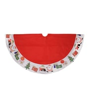 "Northlight 48"" Red with White Border Christmas Day Fun and Surprise Christmas Tree Skirt (32271626)"
