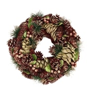 "Northlight 13"" Burgundy and Gold Glitter Pine Cone and Berries Artificial Christmas Wreath - Unlit (31742003)"