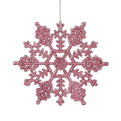 Northlight Club Pack of 24 Mauve Pink Glitter Snowflake Christmas Ornaments 4