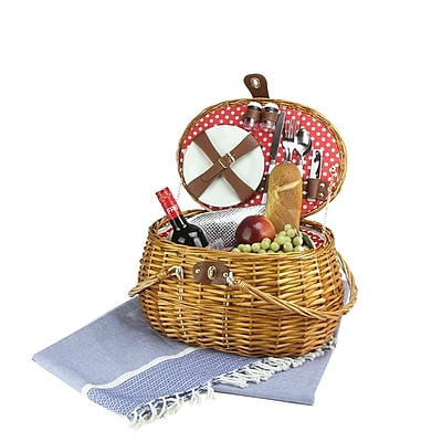 Northlight 2-Person Hand Woven Honey Willow Polka Dotted Picnic Basket Set with Accessories (32231078)