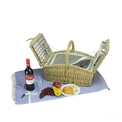 Northlight 2-Person Hand Woven Warm Gray and Natural Willow Insulated Picnic Basket Set with Accessories (32230908)