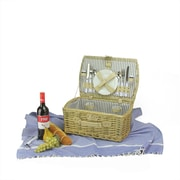 Northlight 2-Person Hand Woven Warm Gray and Natural Willow Picnic Basket Set with Accessories (32229603)